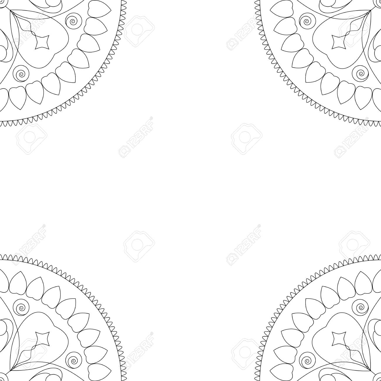 Square Coloring Book Cover Or Background Illustration With Mandala