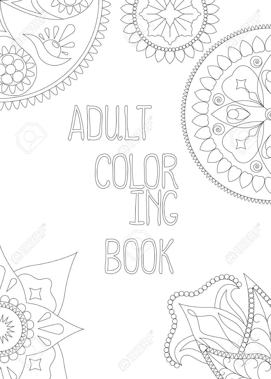 Cubierta Adulta Del Libro De Colorear, Ilustración Vertical Del ...