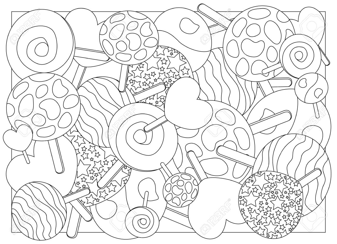 Coloring Page Lollipops Vector Illustration Lollipop Candy On