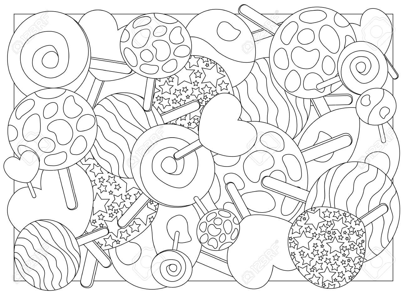 Coloriage Sucette Coeur.Illustration Vectorielle De Sucettes Sucette Sur L Ornement De Baton
