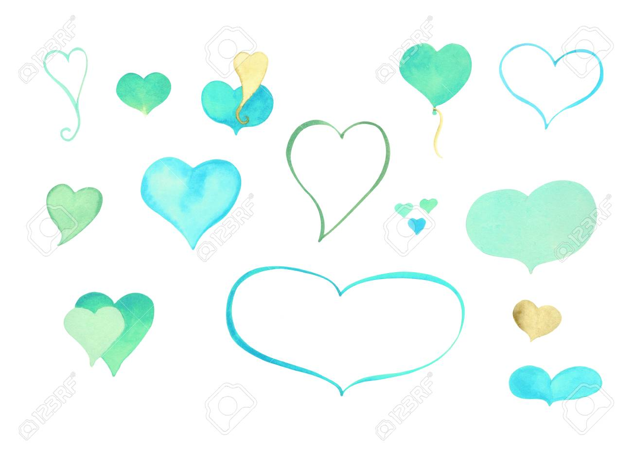 Aquarell Herz Cliparts. Blau, Grün, Gold Aquarell Herz Isoliert Auf ...