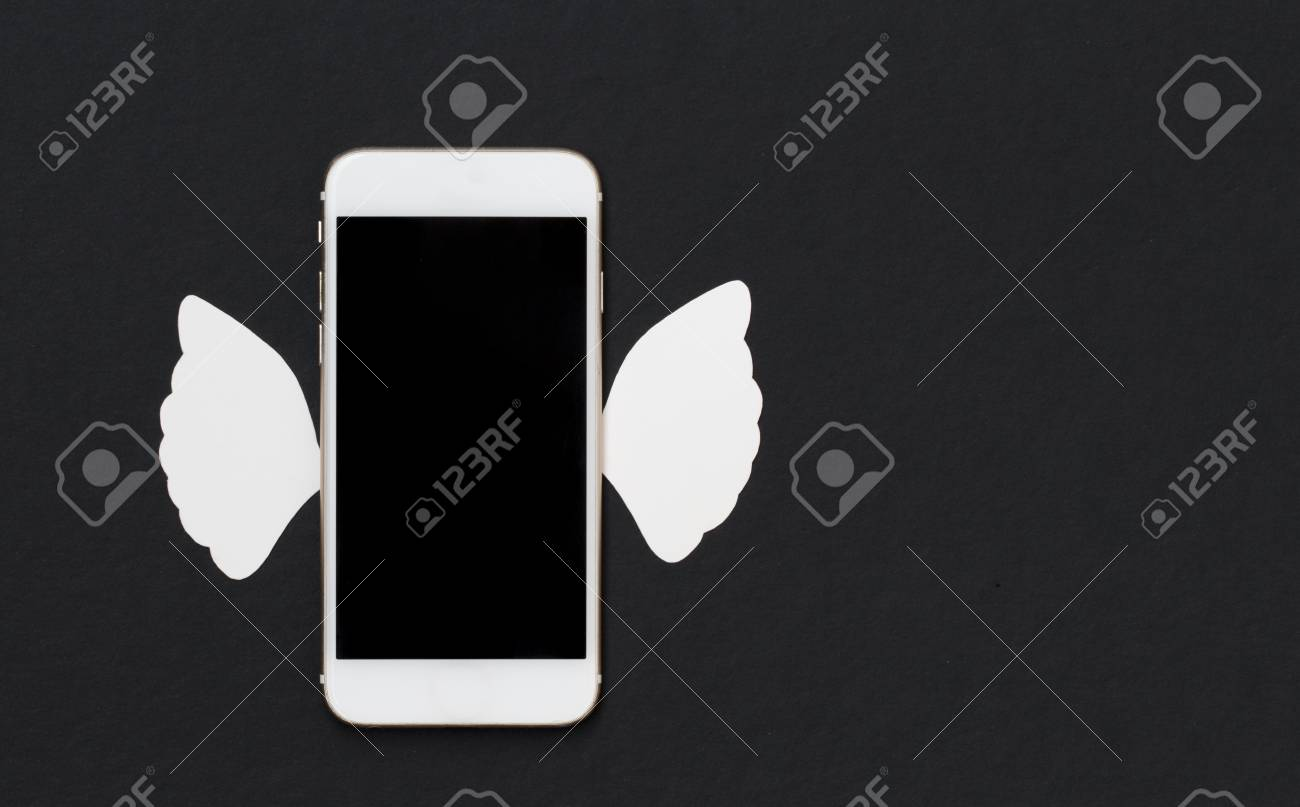 white phone with white angel wings on black background smartphone