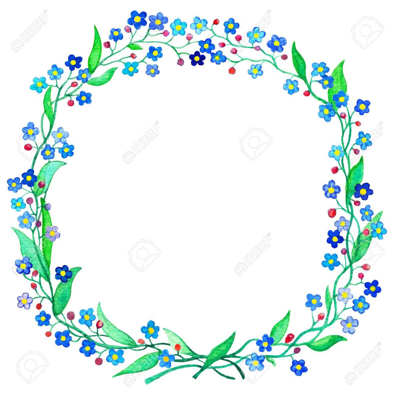 Blaue Vergissmeinnichtkranz Aquarellillustration Frühlingsblume