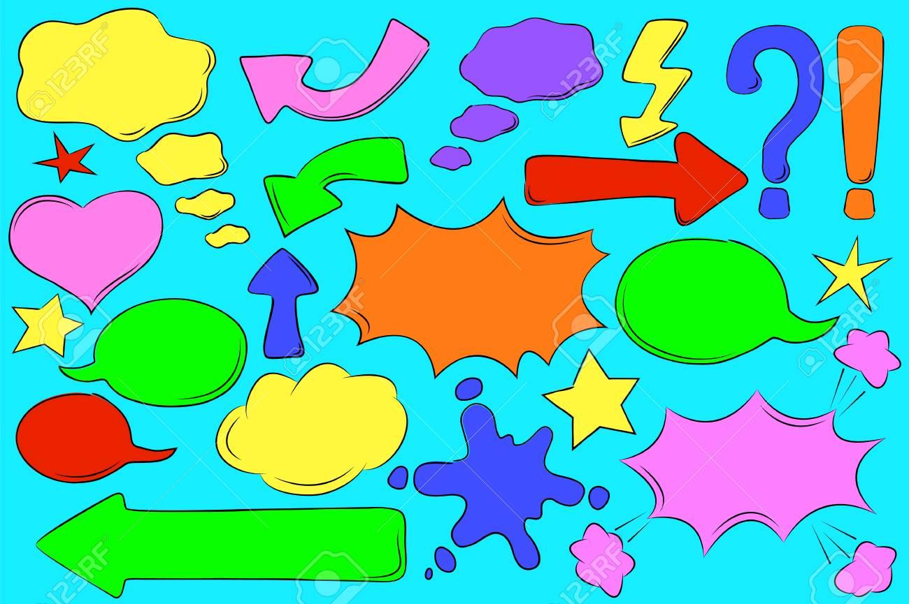 Multicolored Comic Bubbles For Text In Pop Art Style Retro Message Box Vector Clipart