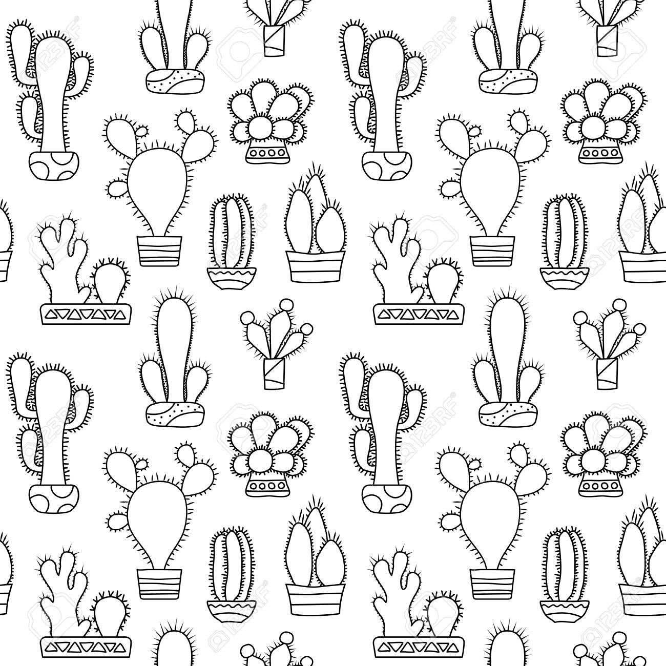 Modelo Inconsútil Del Vector Del Cactus Resumido Blanco Y Negro Cactus Doodle Sobre Fondo Blanco Azulejo De Patrón De Planta De Interior Cactus