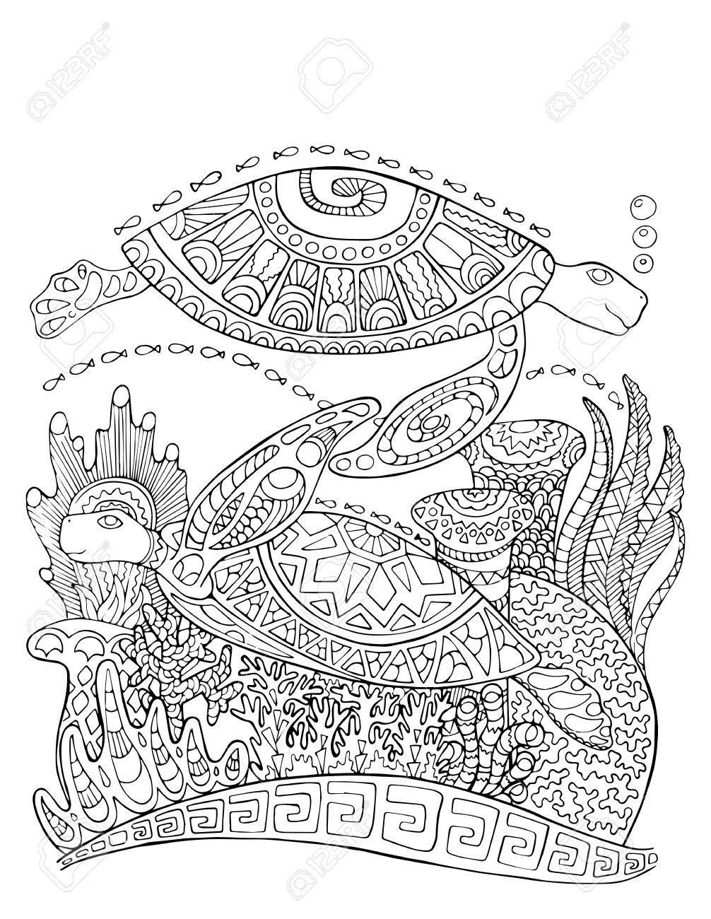 Estilo De Doodle De Tortuga De Mar Para Colorear Página. Ilustración ...