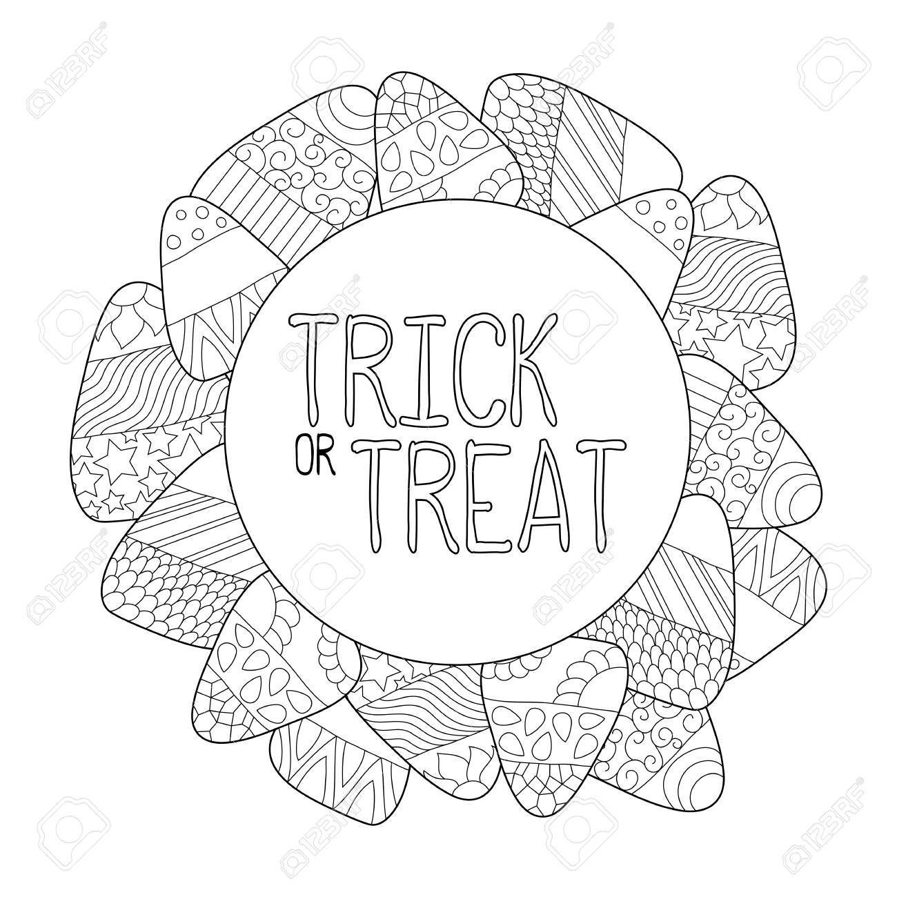 Candy Corn Vector Coloring Page. Trick Or Treat Greeting Card ...