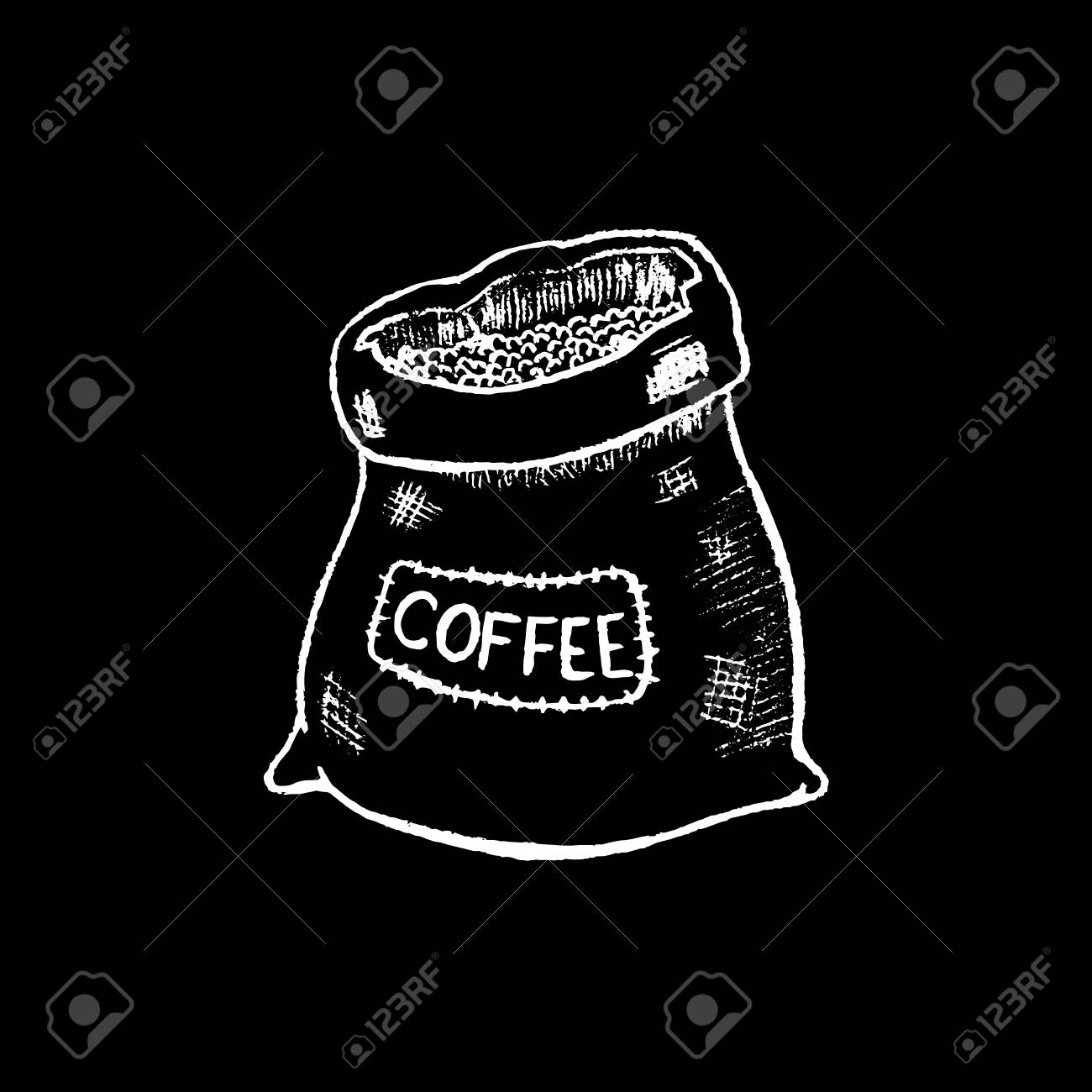 Coffee Sack White Chalk On Black Chalkboard Vector Illustration Burlap Rustic