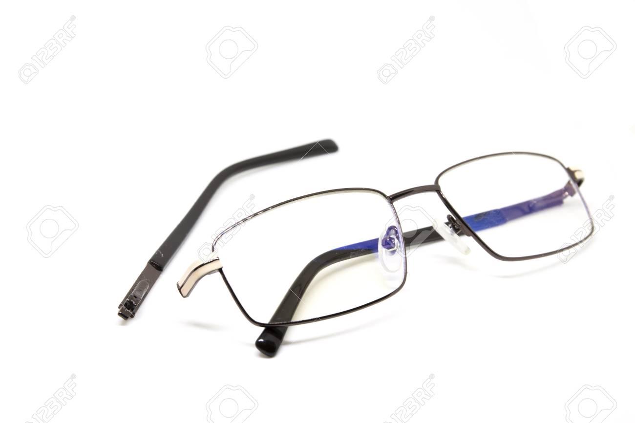 Broken Glasses On White Background. Eye Glasseswith Thin Metal ...