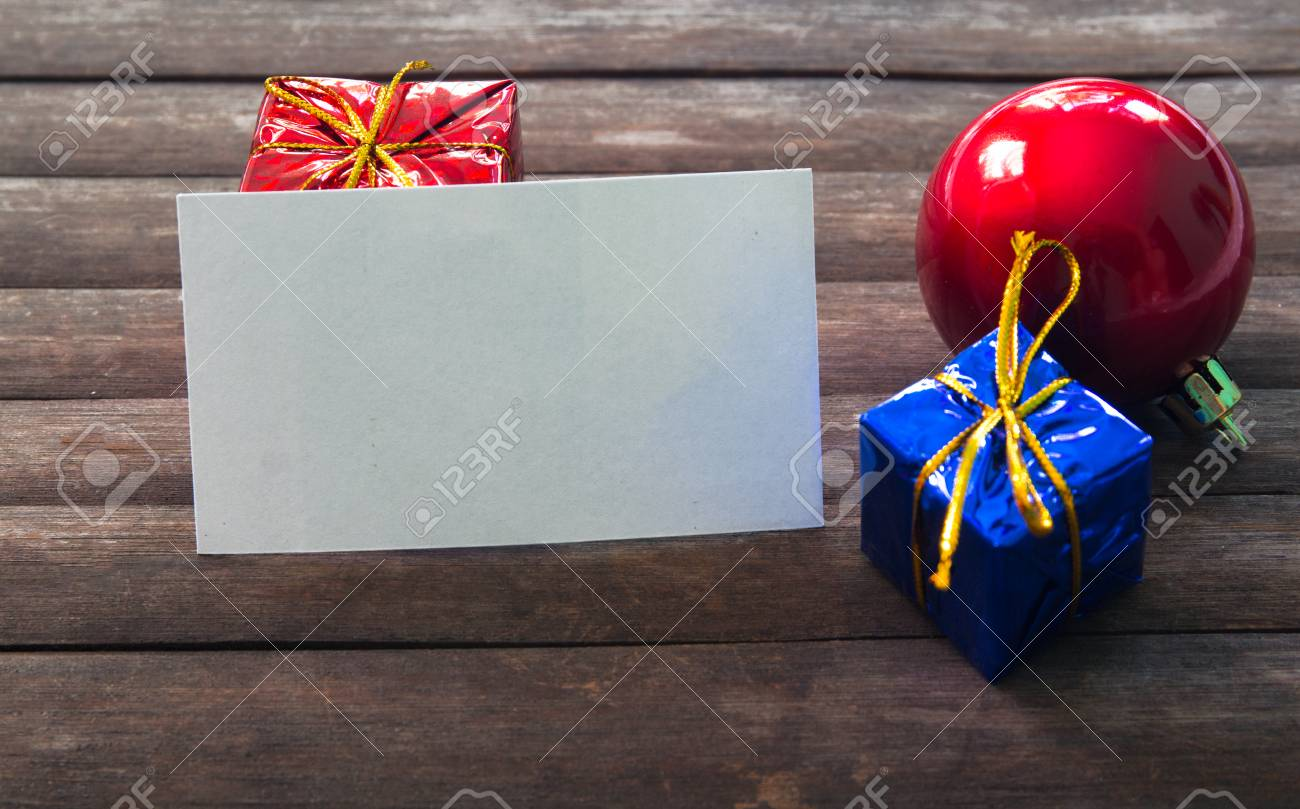 Blank Business Card In Christmas Decor On Wooden Background Stock