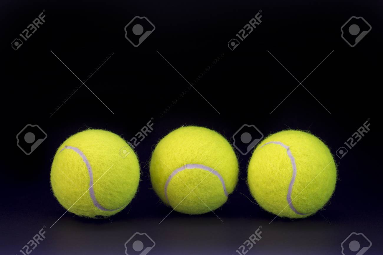 Yellow Tennis Balls On Black Background Tennis Ball Abstract