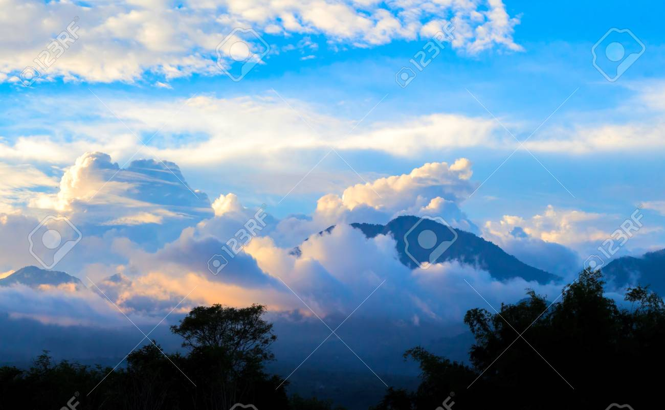 Spectacular Sunset In Mountains Tropical Golden Hour Landscape
