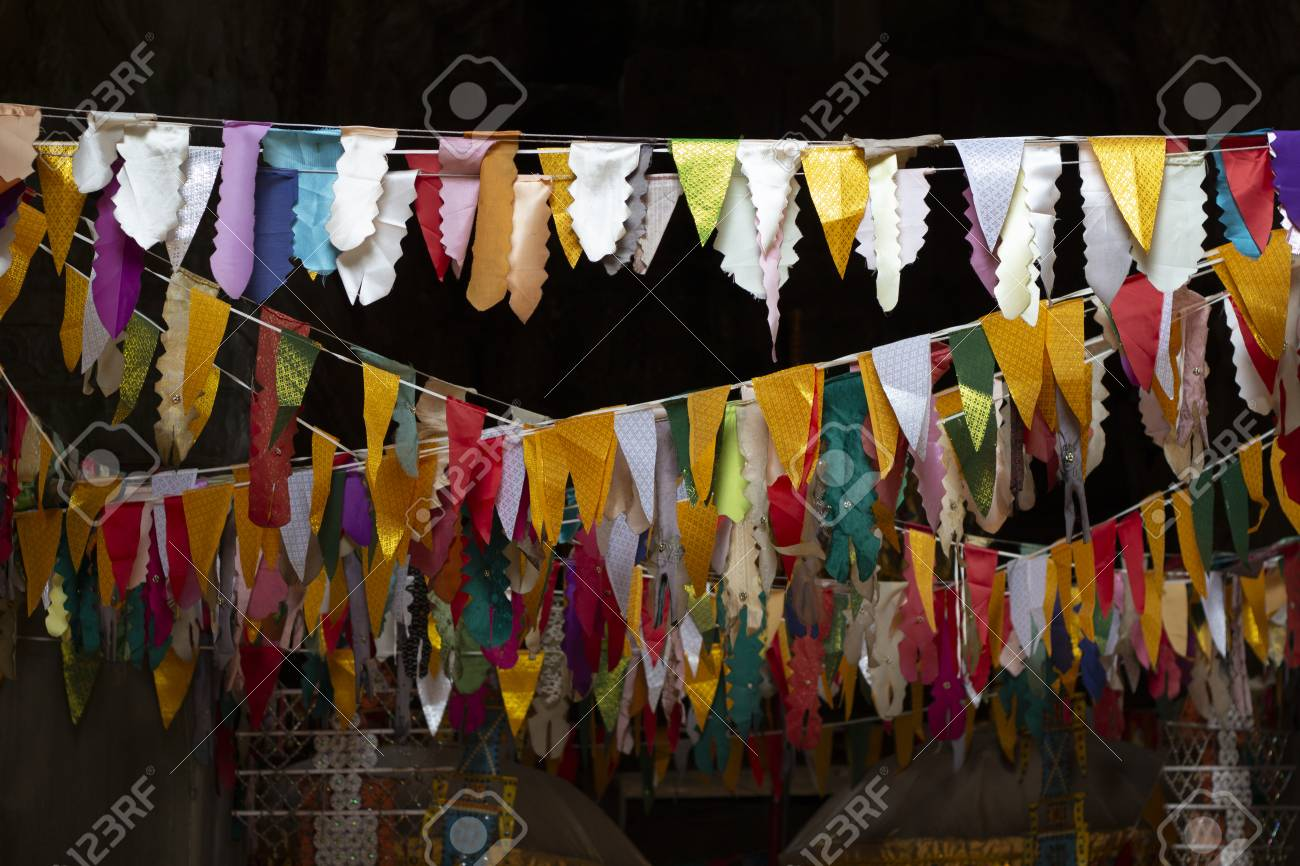 flag banner decoration in buddhist temple triangle flags garland