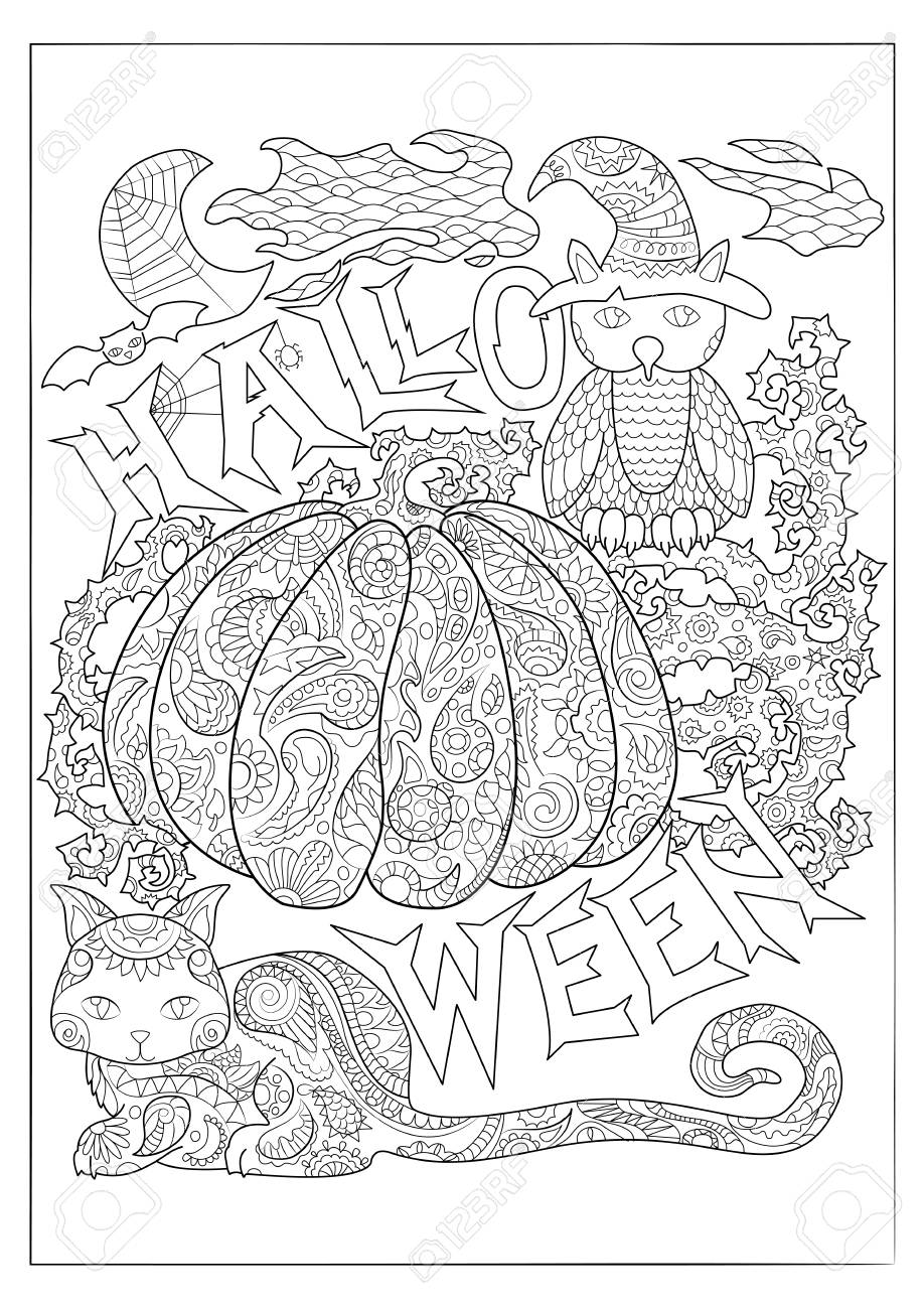 Halloween black and white vector coloring page with owl in magician..