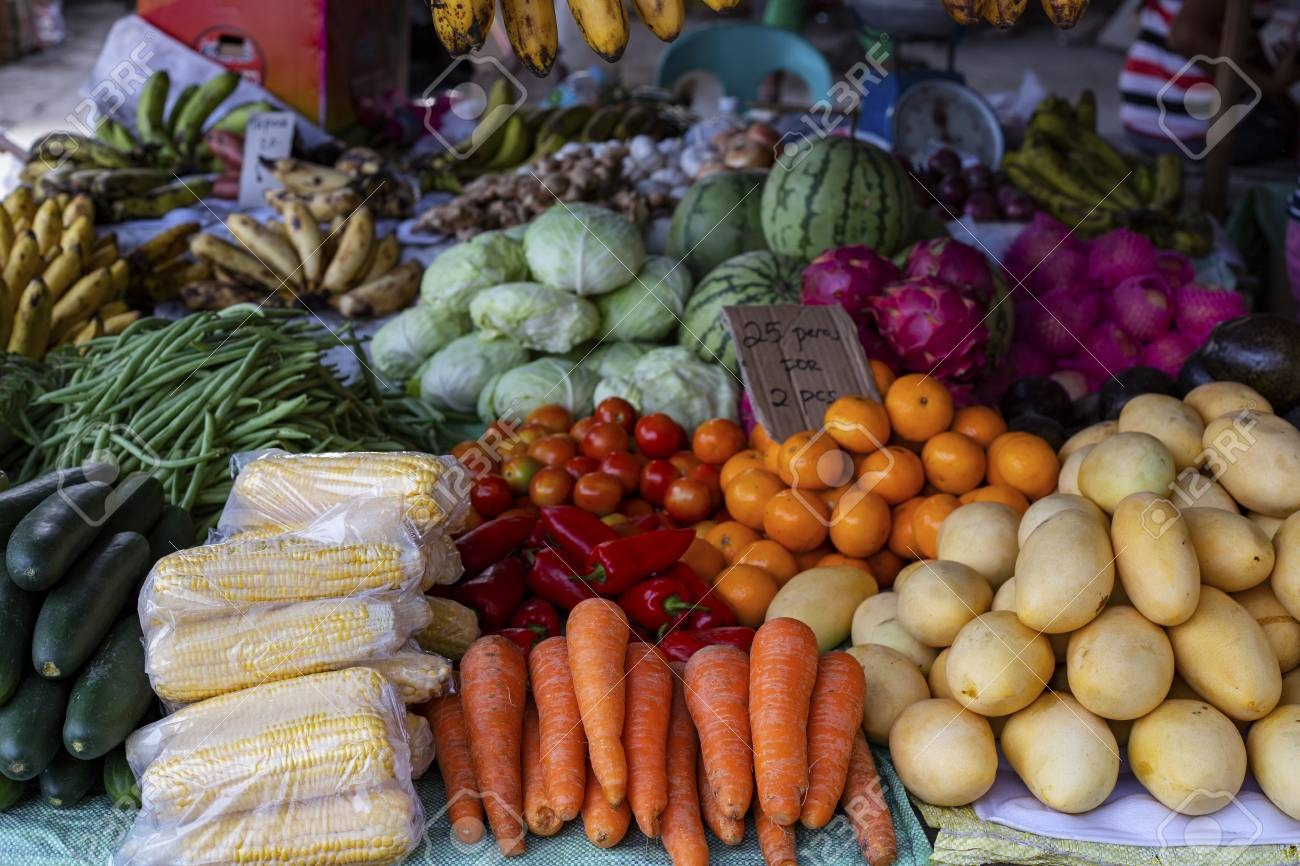 Dumaguete, the Philippines - 27 July 2018: Fruit and vegetable