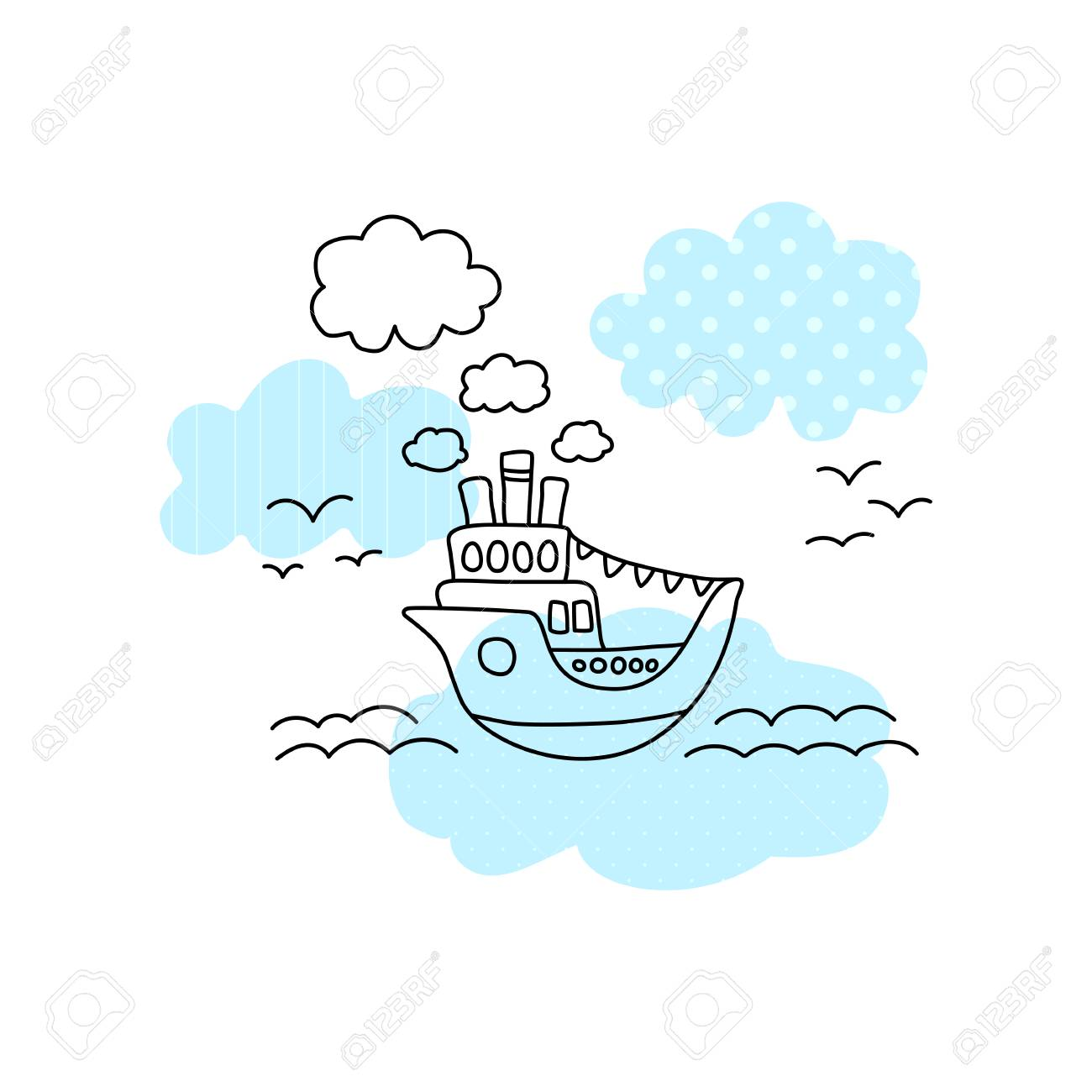 Ship in sea vector illustration with black line on white background. Cute ship in sea print for boy. Cruise liner with blue pattern patch. Ocean liner line art. Seascape with ferry, sea waves, seagull - 108532286