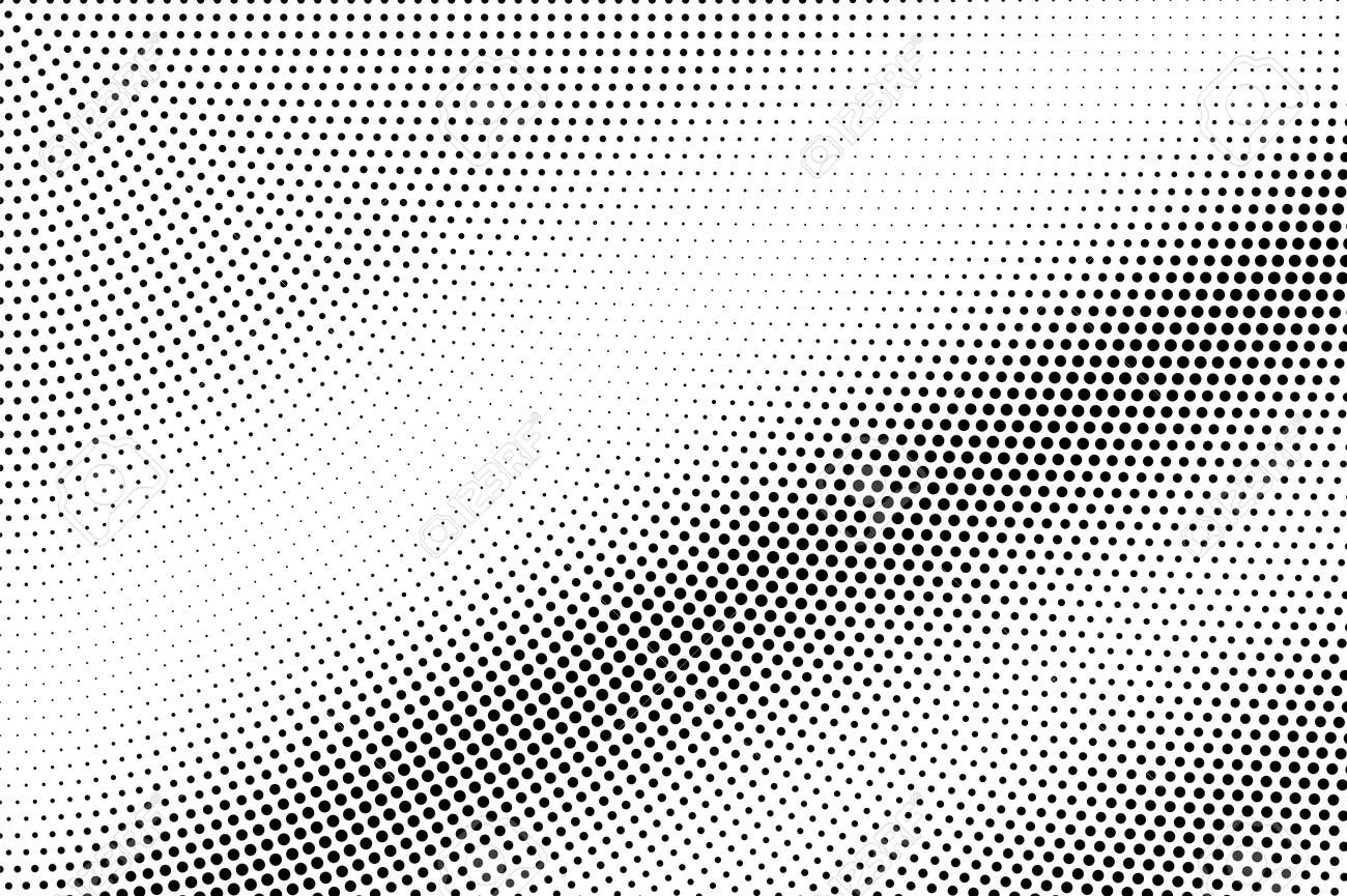 Black on white micro halftone texture. Diagonal dotwork gradient. Rough dotted vector background. Monochrome halftone overlay. Vintage cartoon effect. Perforated texture. Retro dotwork surface - 125733327
