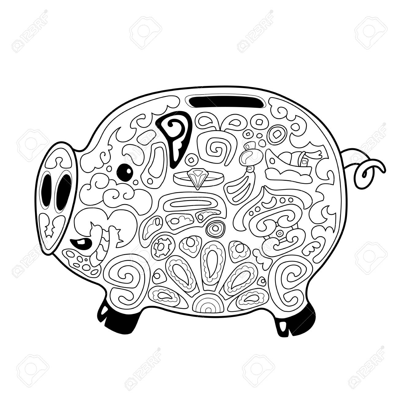 Cute pig money saving box with chinese style ornament for coloring
