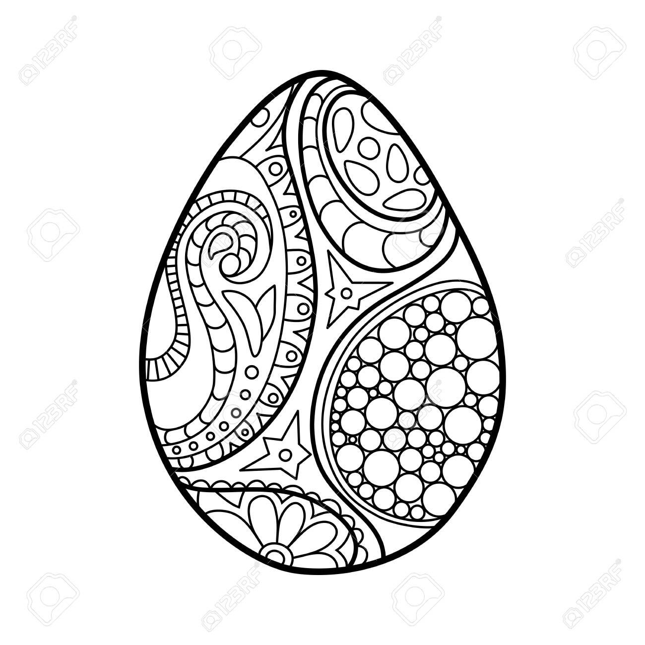 Easter egg coloring page. Ornament egg outlined vector illustration..