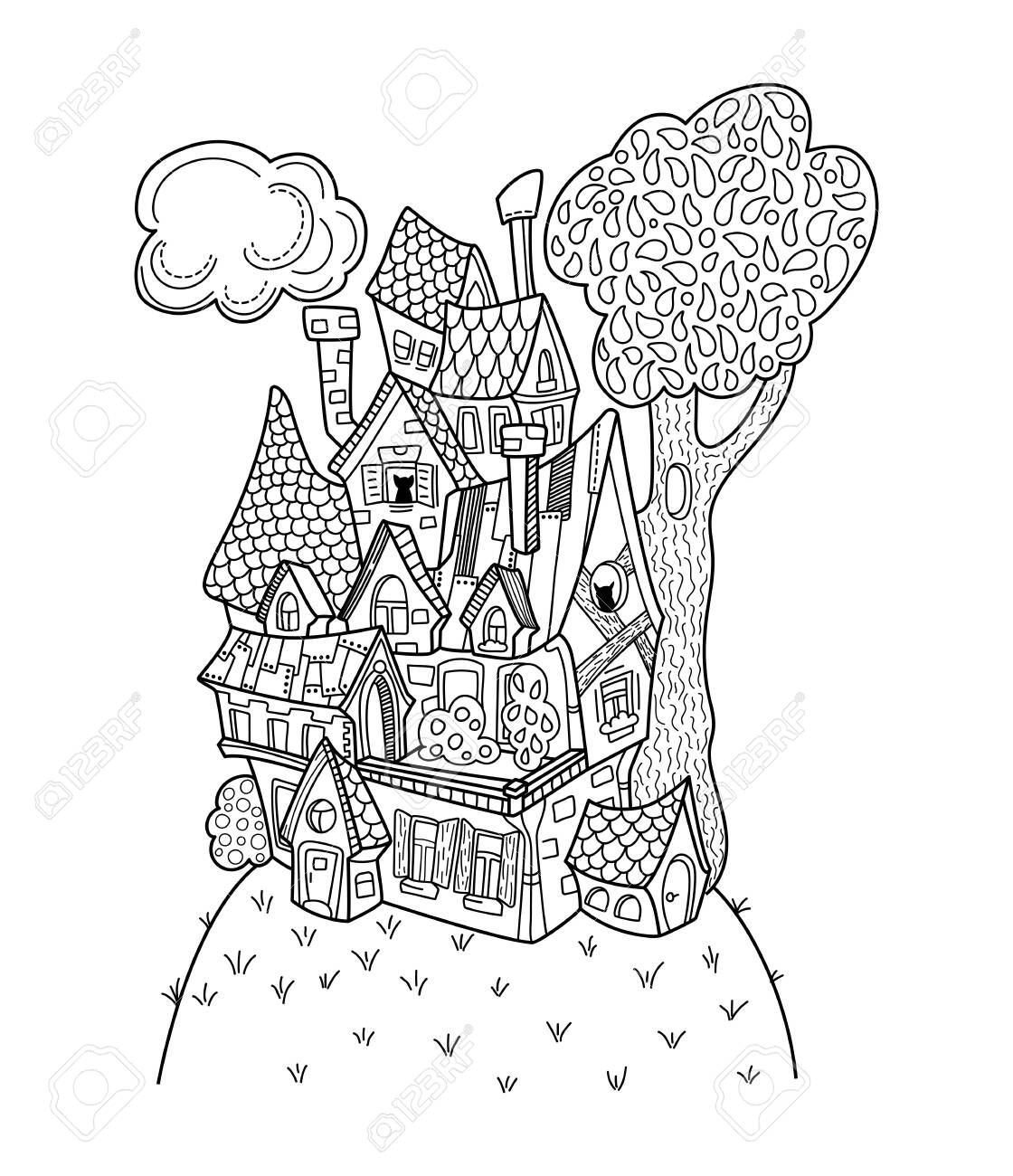Black And White House Coloring Page