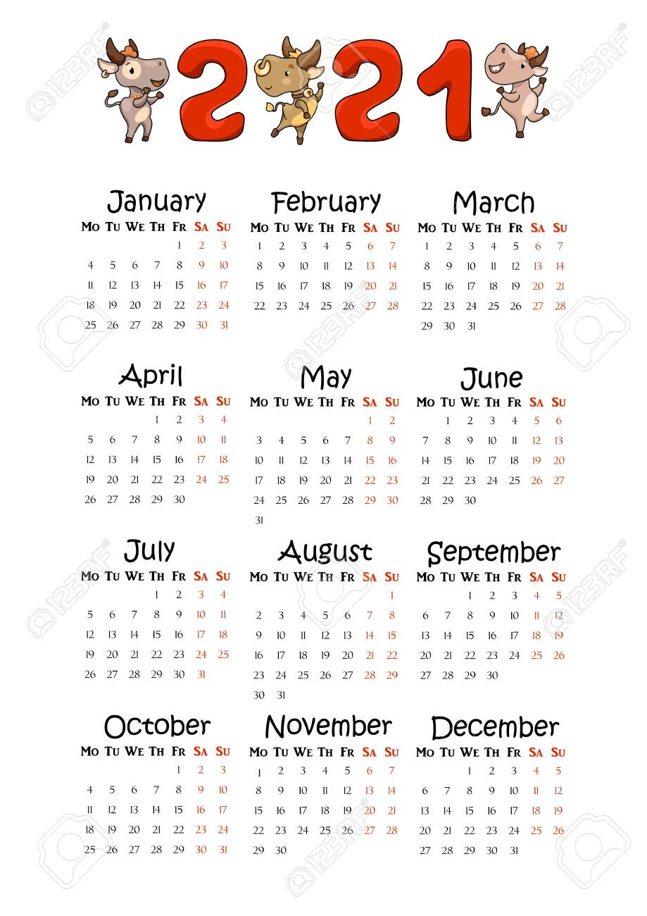 2021 Year Vertical Calendar On A4 Paper Format Cute Ox Lunar Royalty Free Cliparts Vectors And Stock Illustration Image 153337849