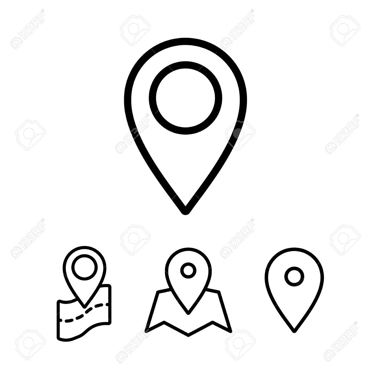 Thin Line Google Map Search Pin Point Location Icon On White Royalty Free Cliparts Vectors And Stock Illustration Image 69541928
