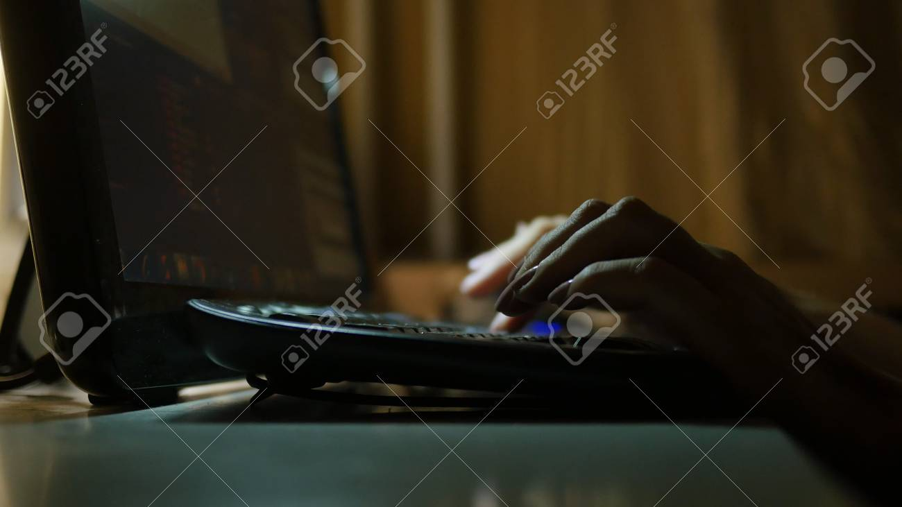 fingers typing on the keyboard - 90469333