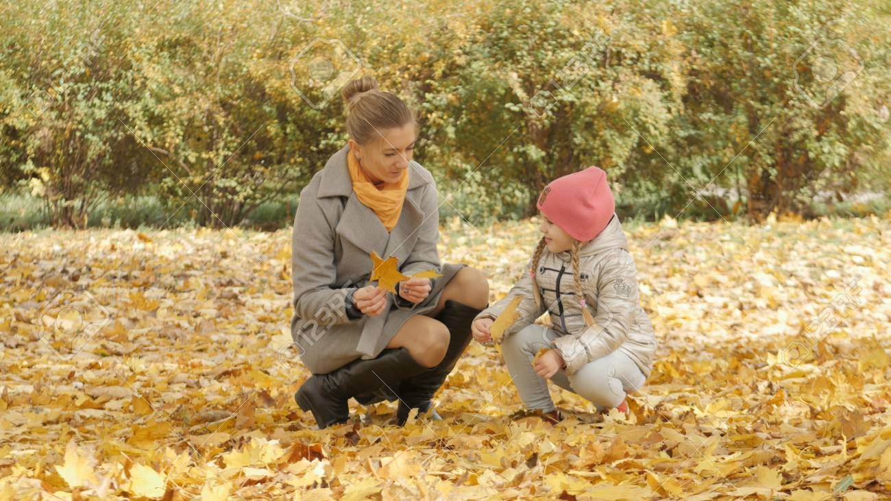 Mom and baby collect yellow leaves in the park - 90527345