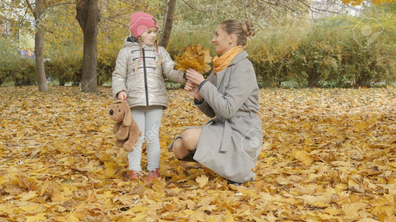 Mom and baby collect yellow leaves in the park. mom kisses her daughter - 90539372