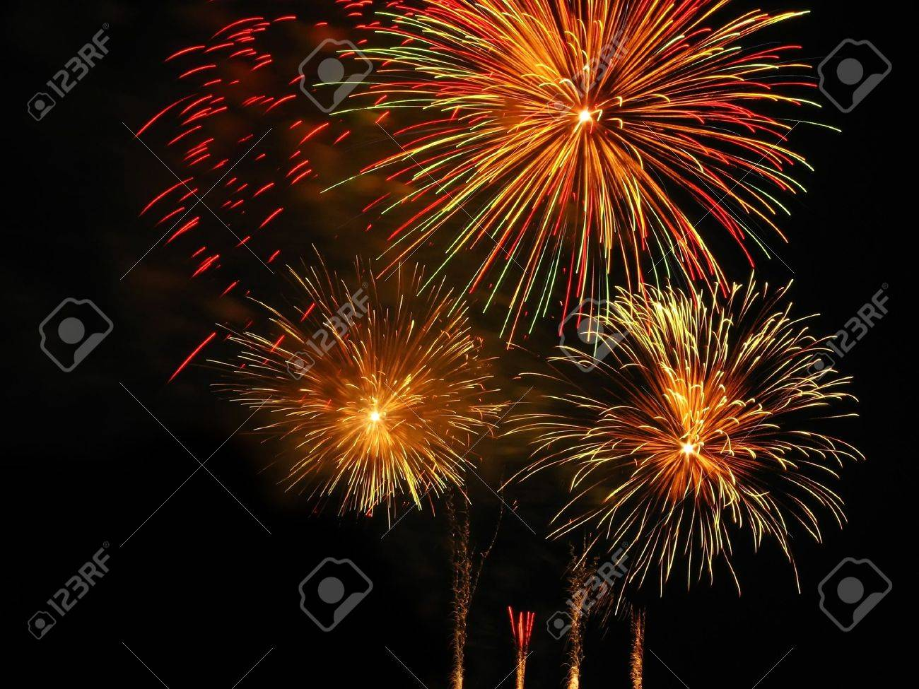 Colorful fireworks over dark sky, displayed during Barcelona Patron Saint La Merce (24th of september) - 9838771