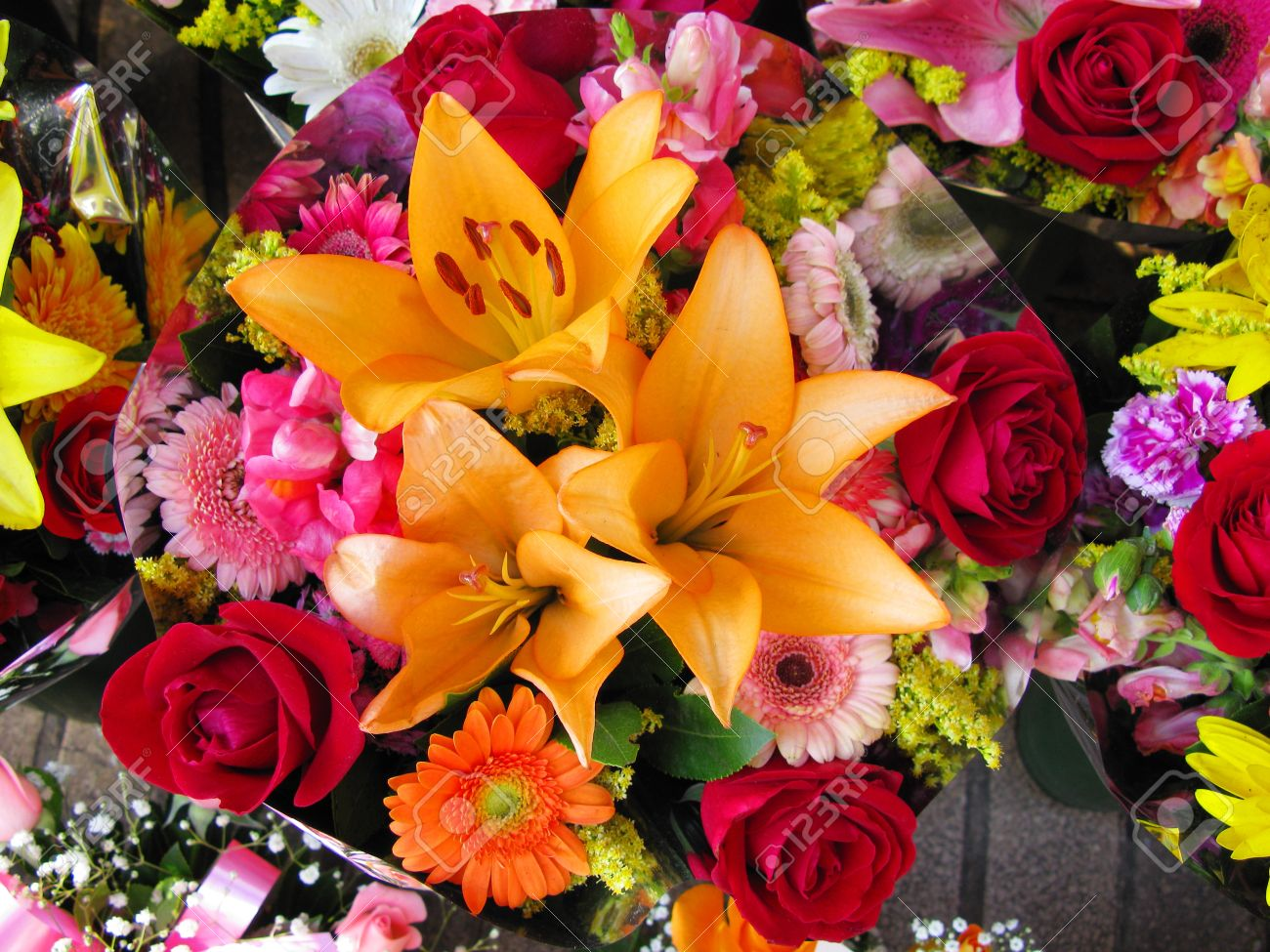 Vibrant And Colorful Bouquet Of Flowers Stock Photo, Picture And ...