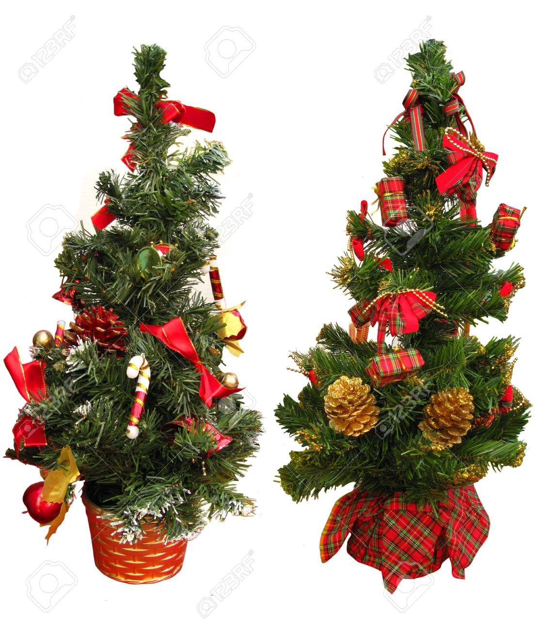 two little christmas trees as a decoration ornaments isolated in white stock photo 10634449 - Little Christmas Trees