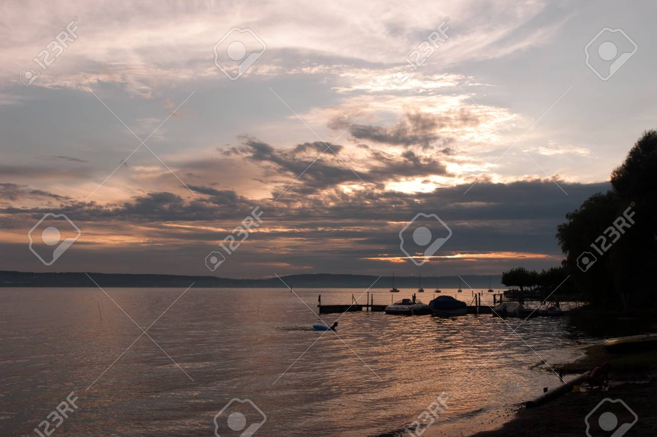 Relaxing On The Seaside Promenade Of Obermaubach Bodensee Germany