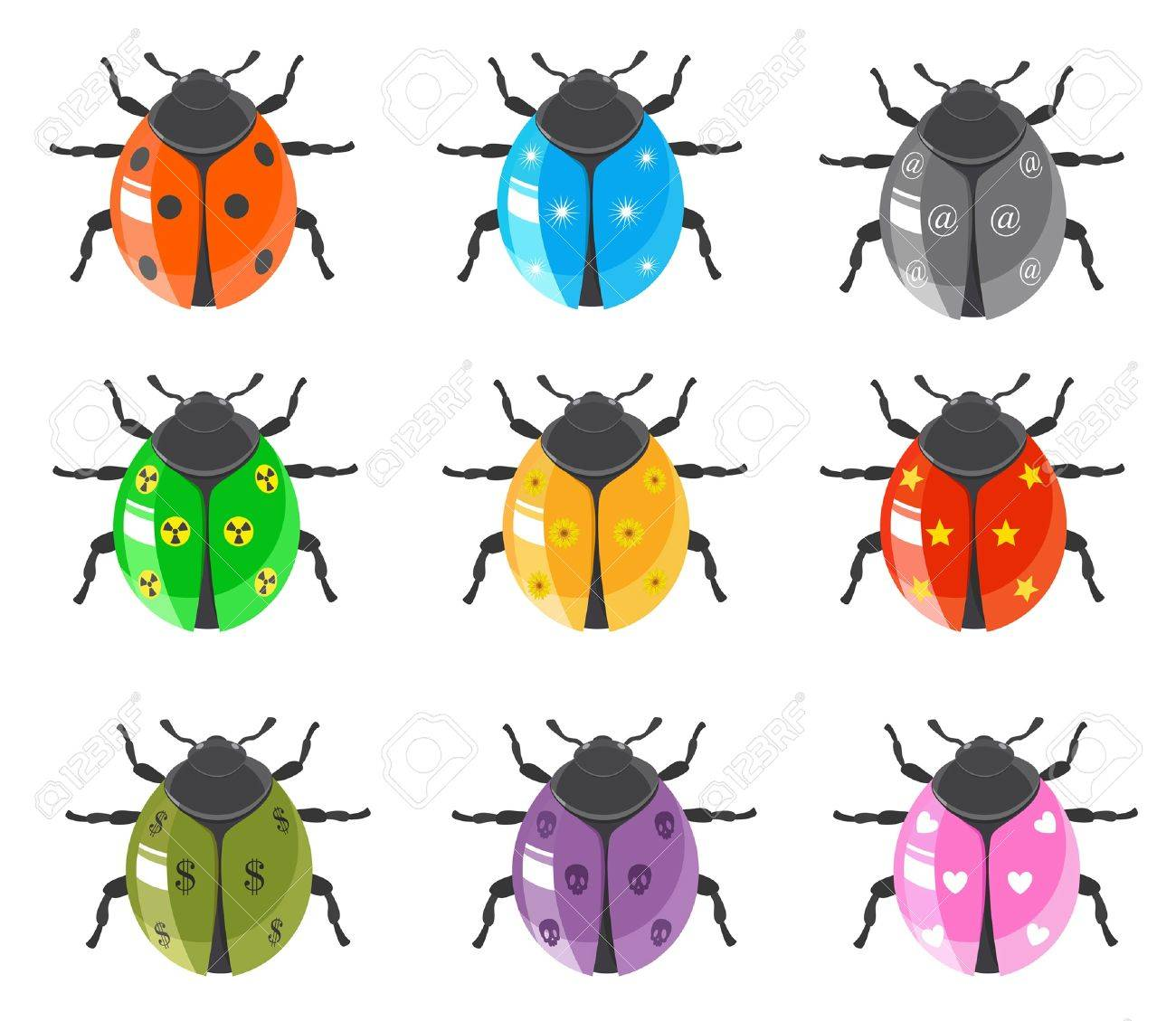 ladybug insect glossy icon set royalty free cliparts vectors and