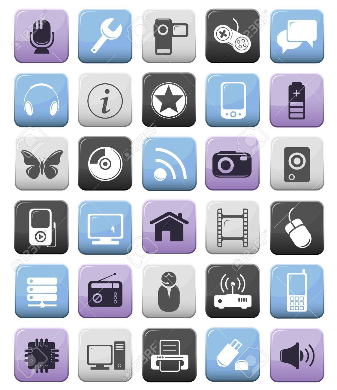 Video audio computer and multimedia icon buttons set Stock Vector - 13962765
