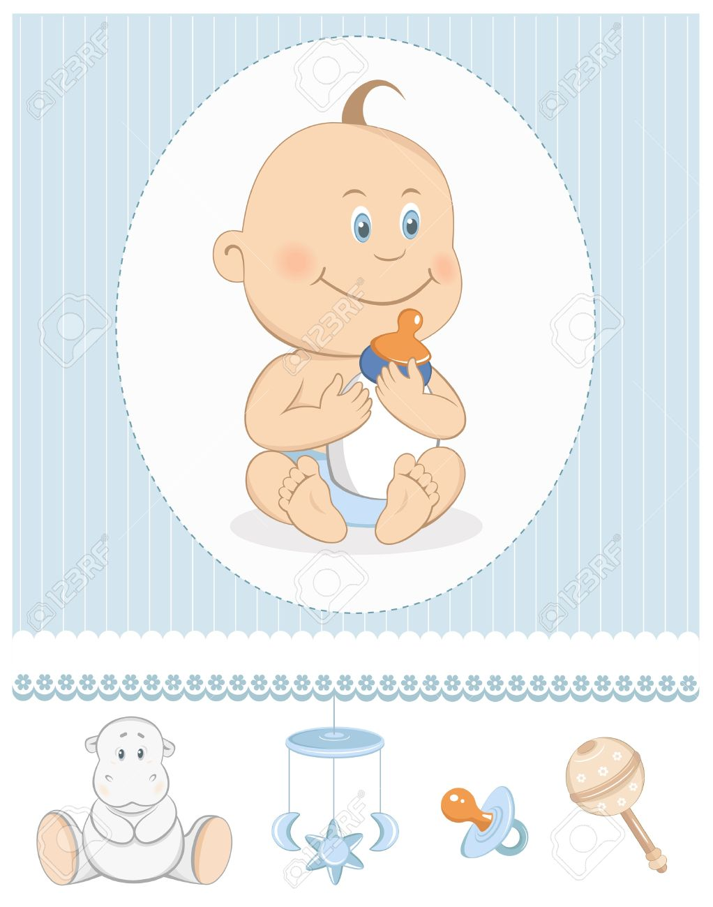 Cartoon baby boy with milk bottle and toy icons Stock Vector - 14303109