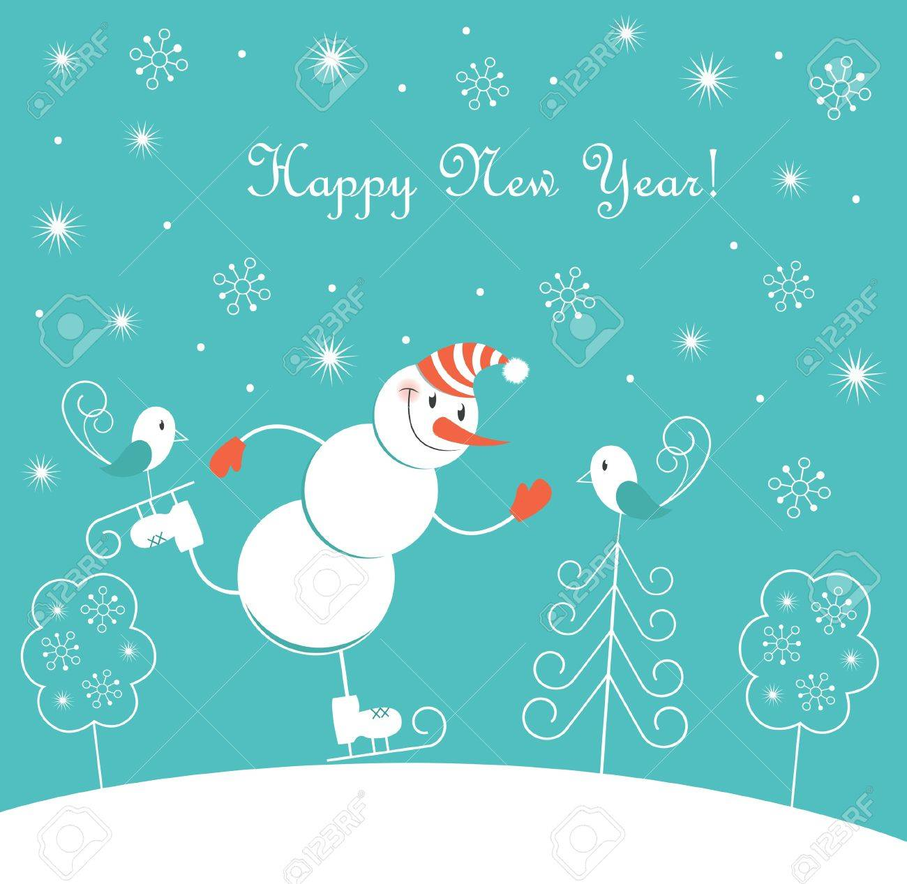 New Year skating happy snowman Stock Vector - 14811048