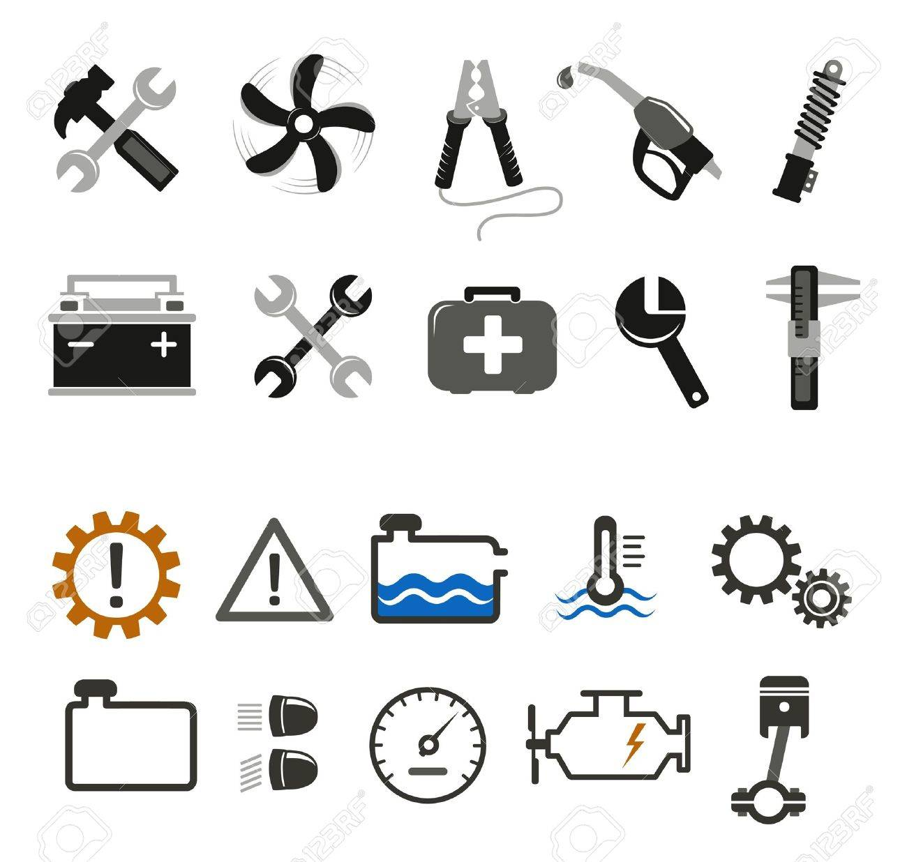 Car mechanic and service tools icons Stock Vector - 14953479