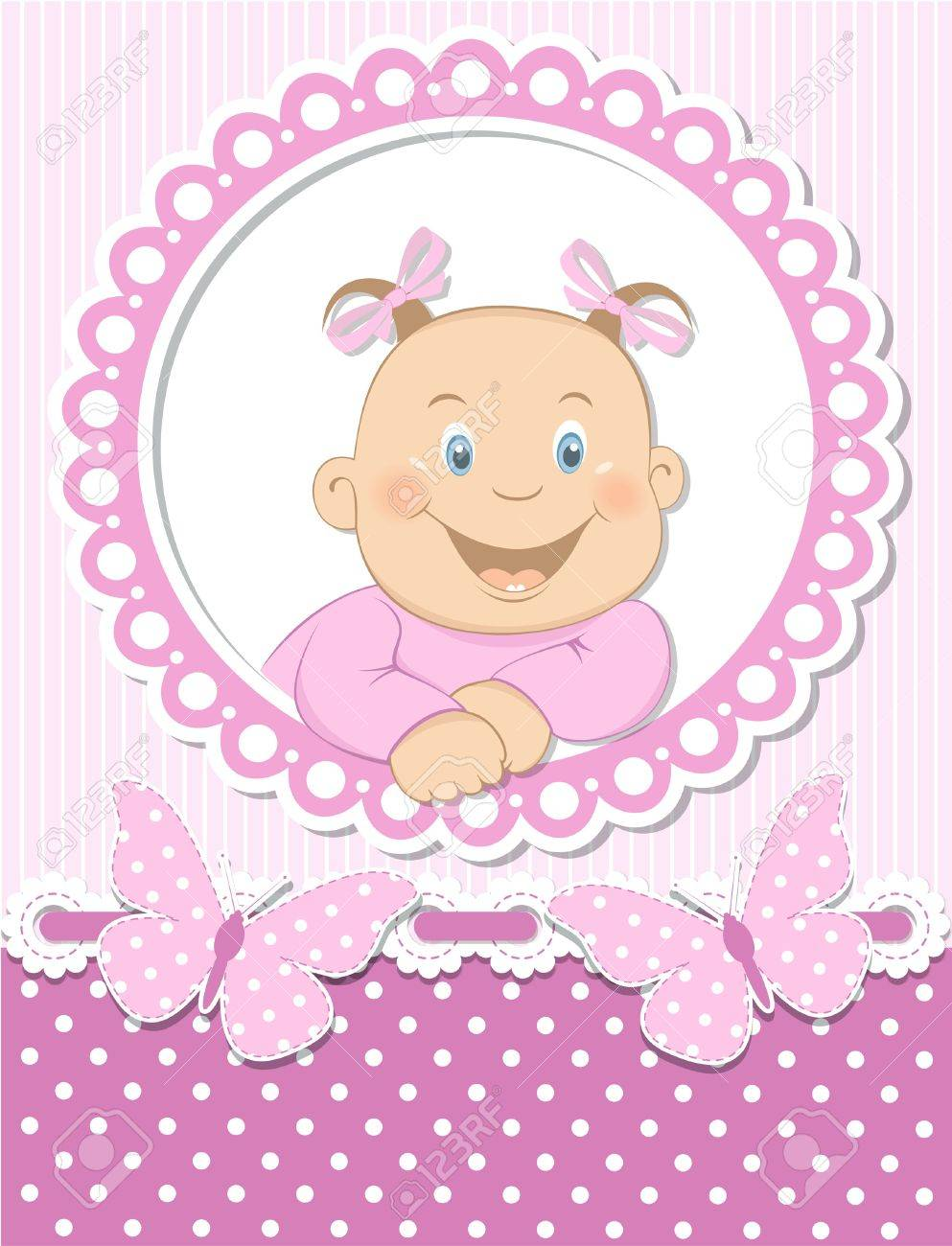 How to scrapbook for baby girl - Happy Baby Girl Scrapbook Pink Frame Stock Vector 15321483