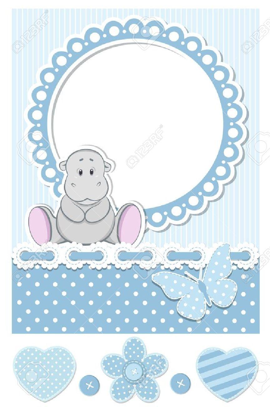 Baby hippo blue scrapbook set Stock Vector - 16234925