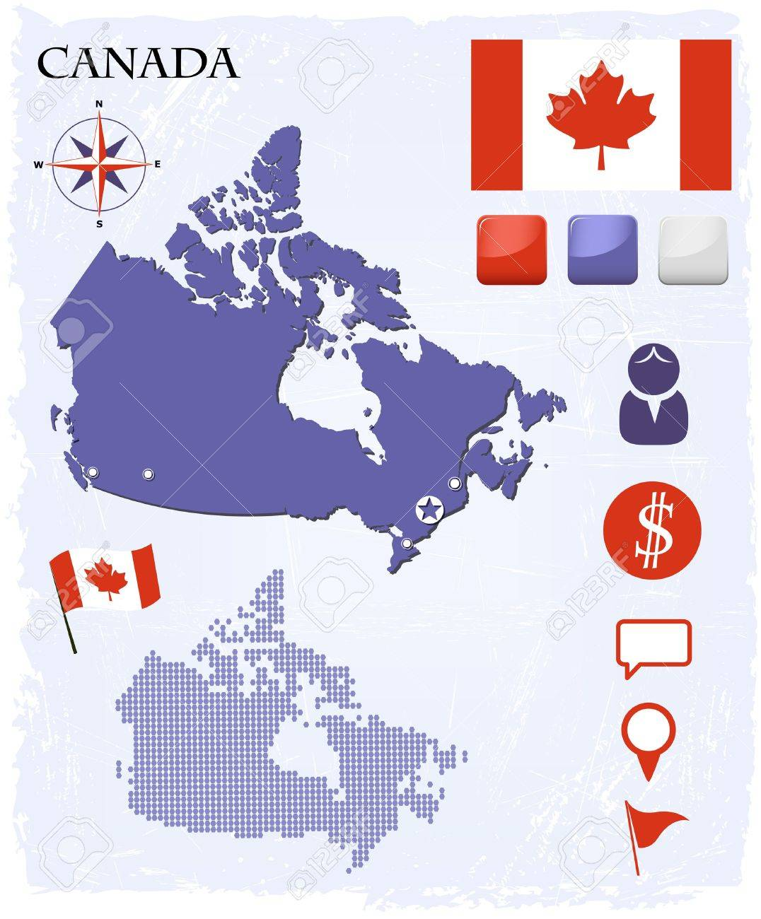 Canada map icons and buttons set Stock Vector - 17312459
