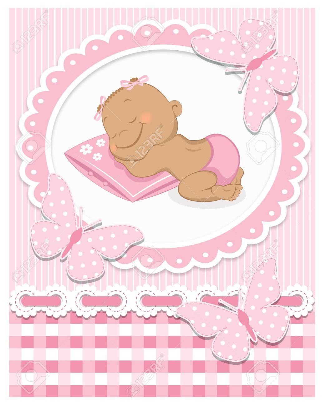Sleeping African baby girl in a pink frame Stock Vector - 18551914