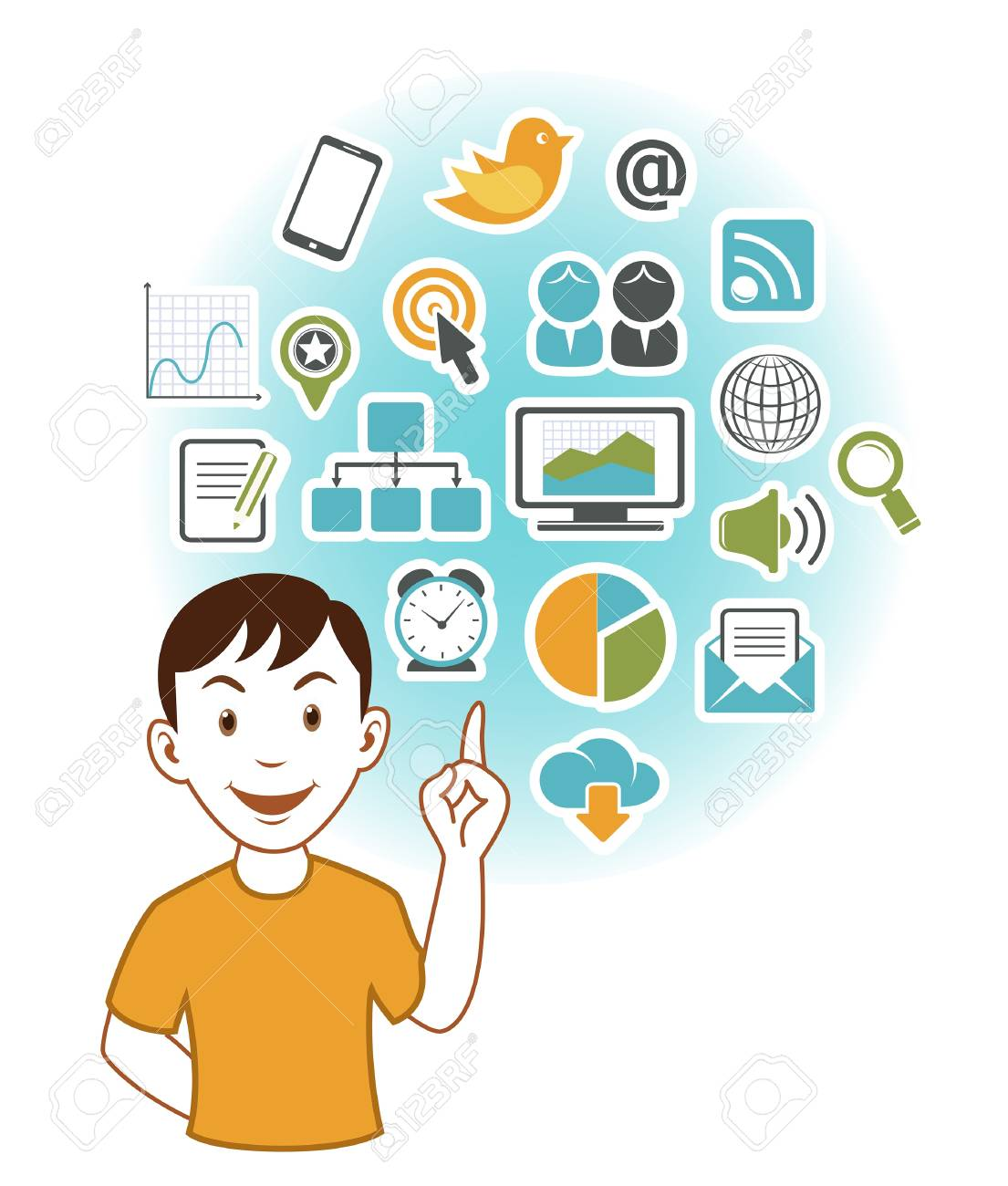 Man with SEO icons Stock Vector - 19978185