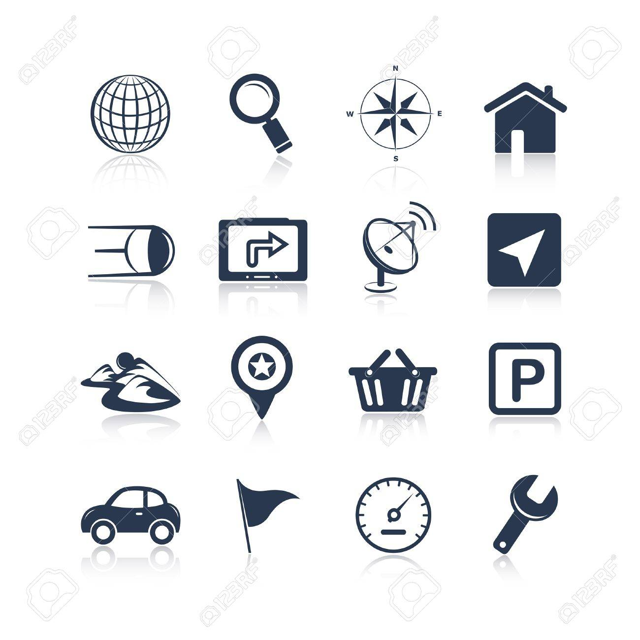Navigation apps icons Stock Vector - 19978305