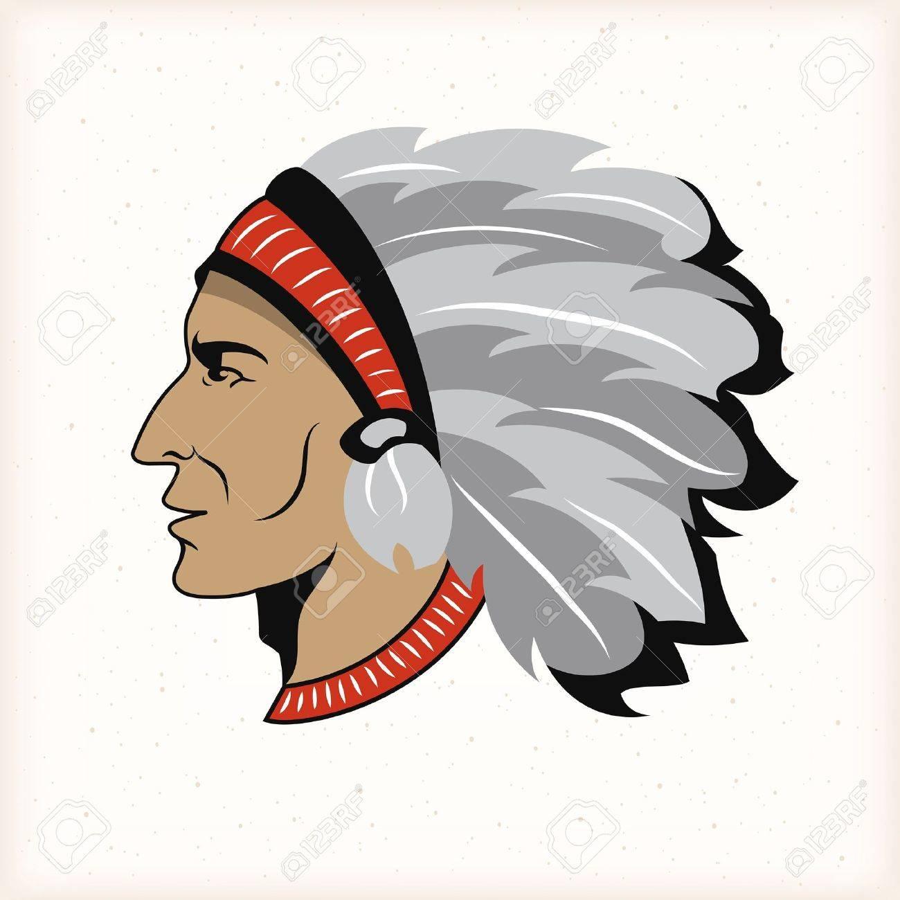 Native american indian head Stock Vector - 20455699