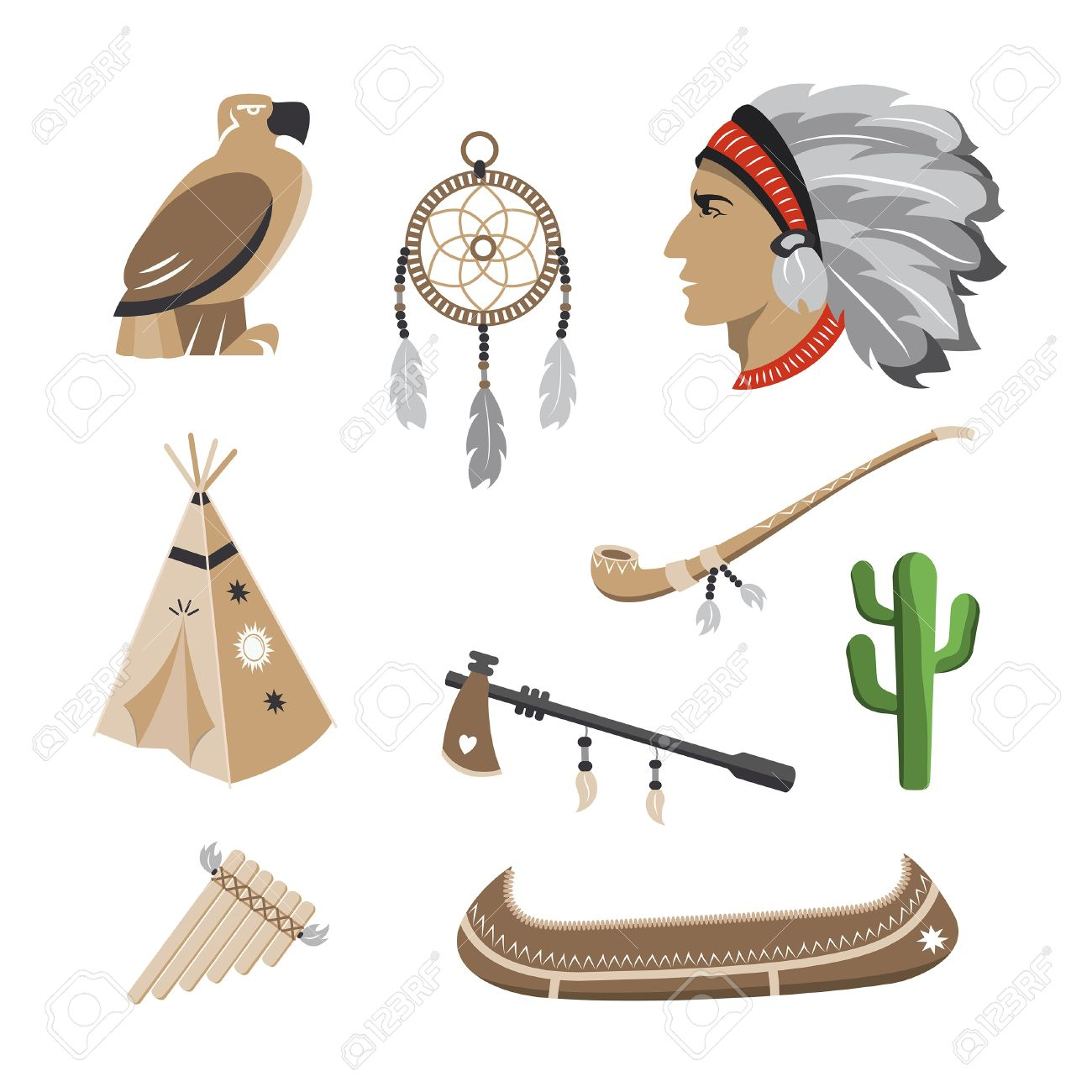 Native american symbol icons Stock Vector - 20455700