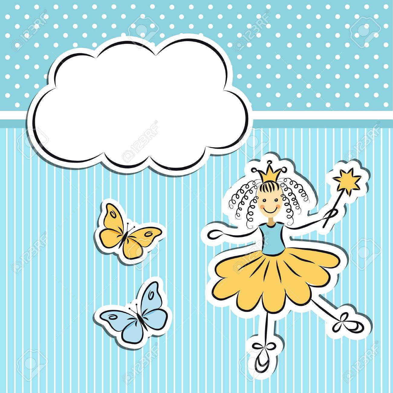 Little princess with paper cloud and butterflies Stock Vector - 20455696
