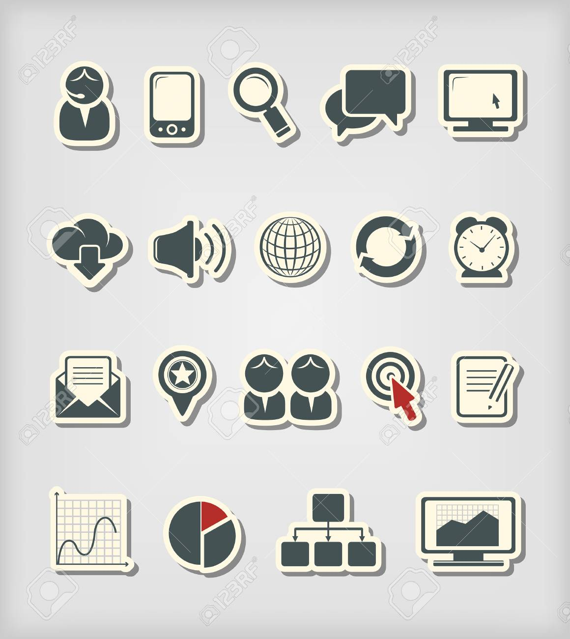 Business and media icons Stock Vector - 22921994