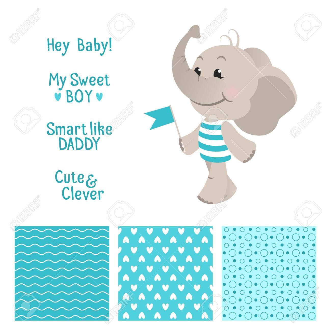 Diseño Azul Del Elefante Del Bebé Establece Con Patrones De Costura ...