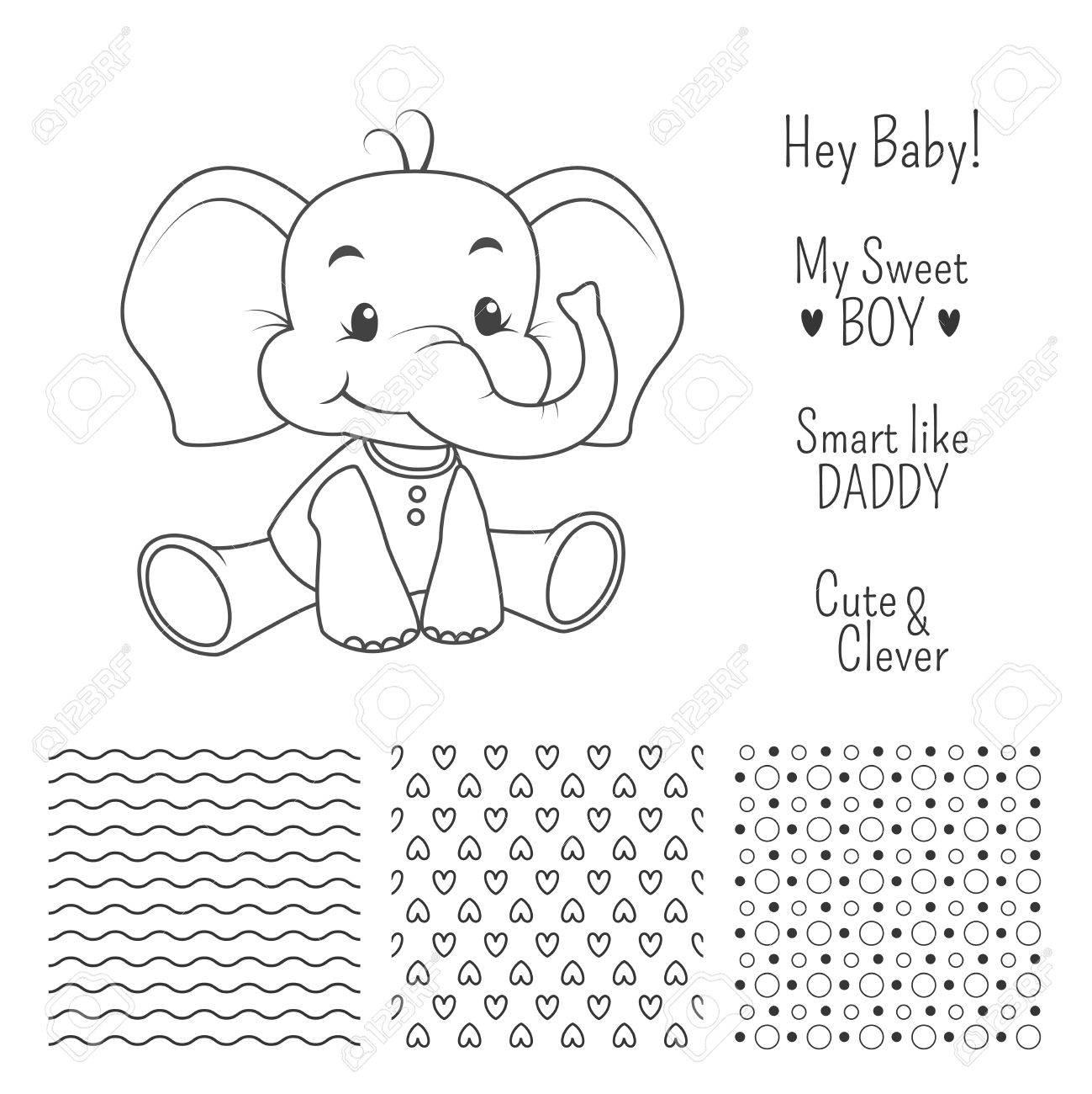 Bebé Elefante Esquema De Diseño Establece Con Patrones De Costura ...